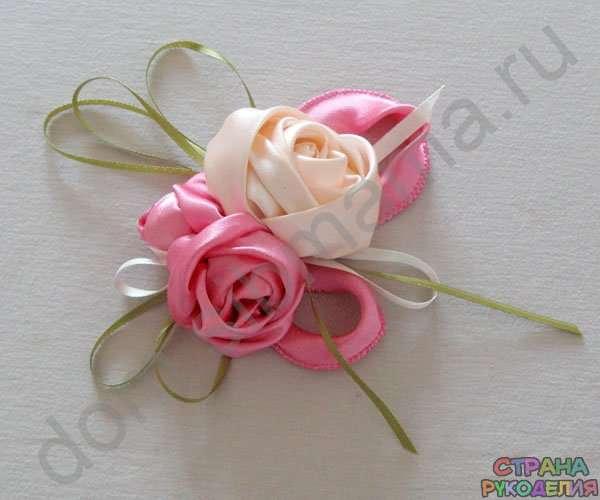 Мастер класс цветы из атласной ленты 24
