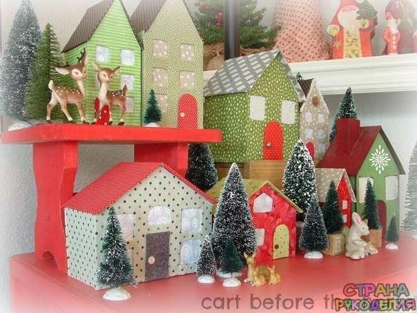 Новогодние домики из картона своими руками фото