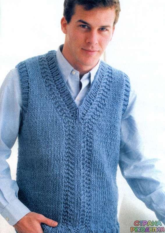 Мужской жилет спицами - Свитера,пуловеры,куртки. - Вязание ...