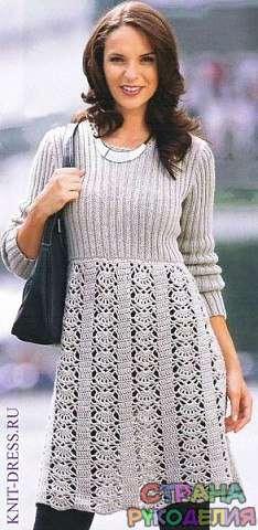 Платье спицами с ажурной юбкой