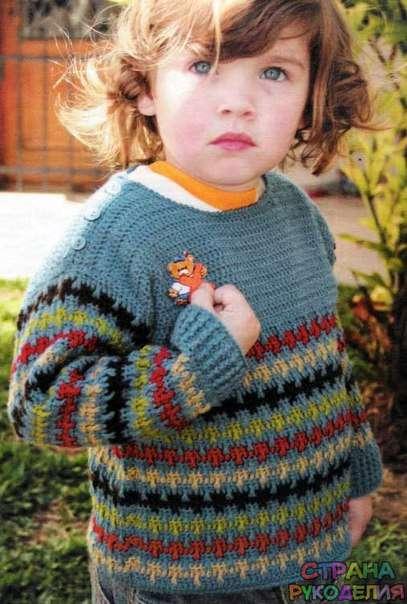 Вязание крючком свитера на мальчика 957