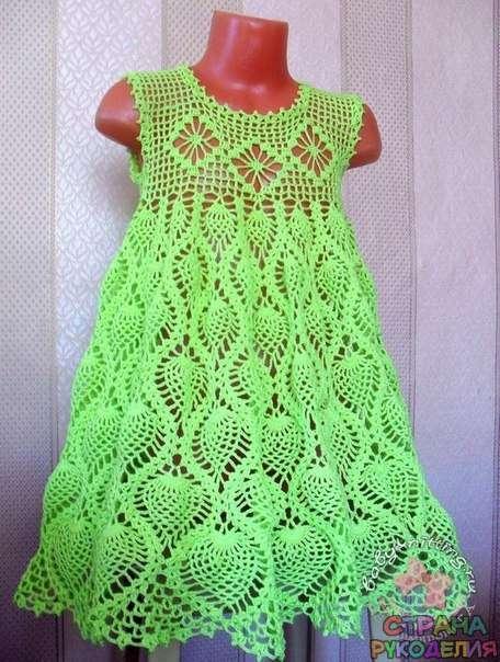 сарафанчик для девочки 3 4 лет крючком ананасы филейка платье
