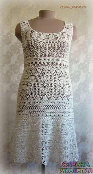 филейное платье от Aleksandra платьесарафан вязание крючком