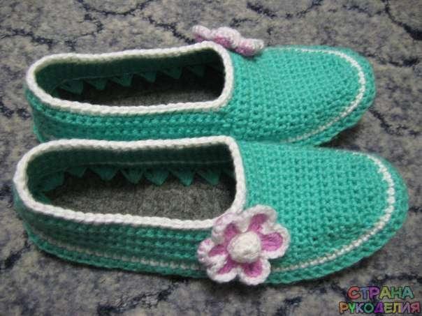 Тапочки с войлочной подошвой, МК - Носки.Тапочки - Вязание ...
